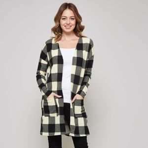 BUFFALO PLAID CARDIGAN SWEATER JACKET WRAP SM-XL